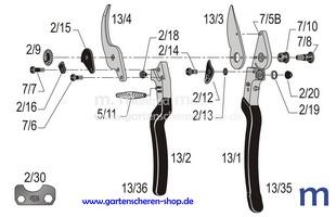 Baumschere Felco 13, Zeichnung der Einzelteile