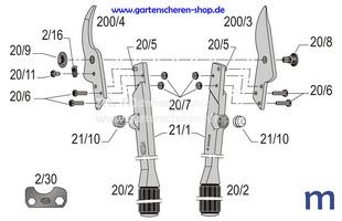 Zweihand-Astschere Felco 21, Zeichnung der Einzelteile