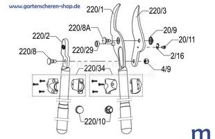 Getriebe-Astschere Felco 220, Zeichnung der Einzelteile