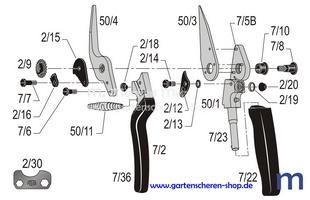 Hufschere Felco 50, Zeichnung der Einzelteile