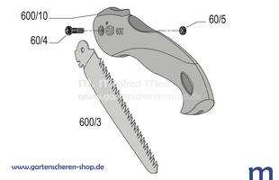 Klappbare Astsäge Felco 600, Zeichnung der Einzelteile